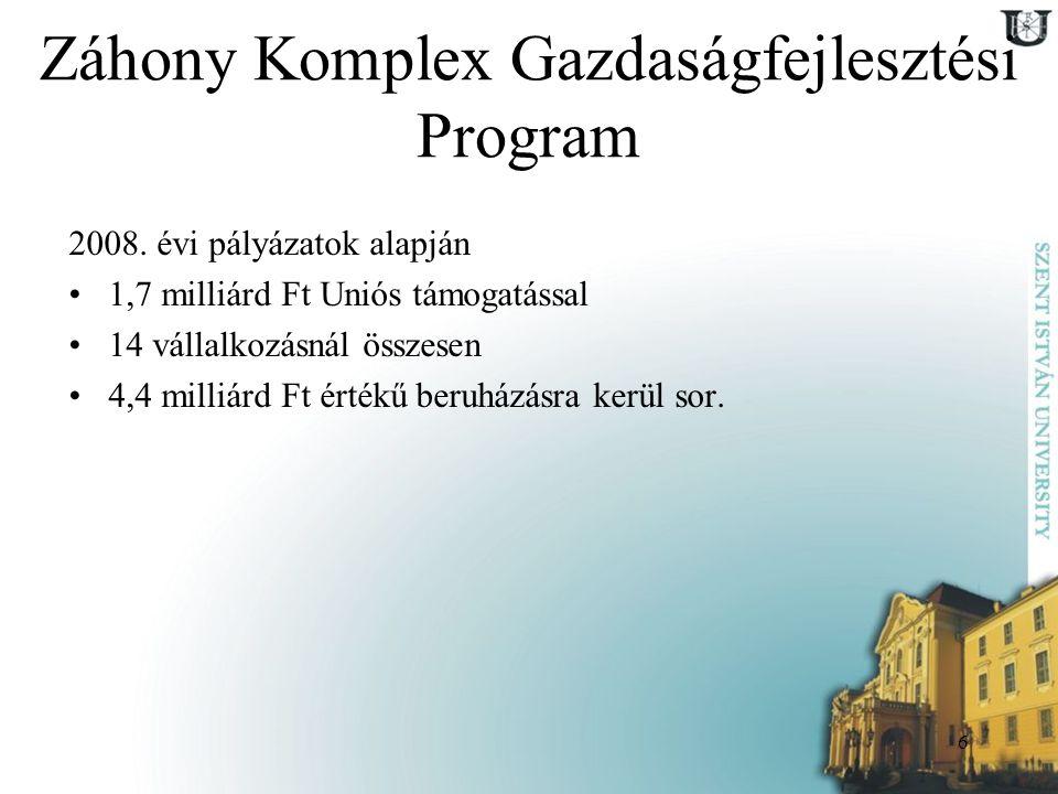 6 Záhony Komplex Gazdaságfejlesztési Program 2008. évi pályázatok alapján 1,7 milliárd Ft Uniós támogatással 14 vállalkozásnál összesen 4,4 milliárd F