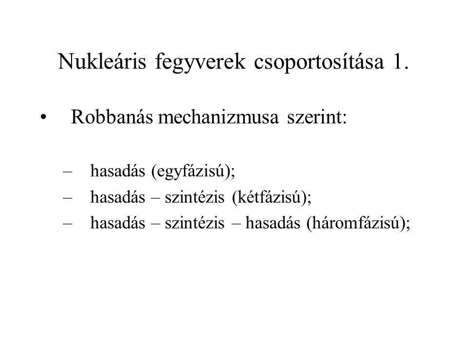 Nukleáris fegyverek csoportosítása 1. Robbanás mechanizmusa szerint: –hasadás (egyfázisú); –hasadás – szintézis (kétfázisú); –hasadás – szintézis – ha