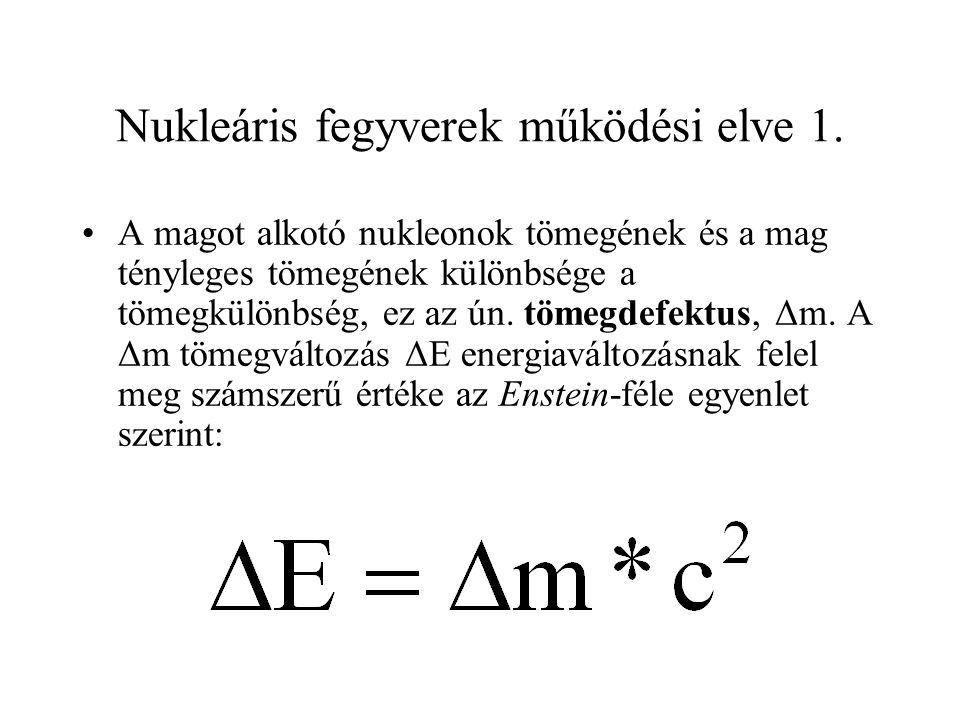 Nukleáris fegyverek működési elve 1. A magot alkotó nukleonok tömegének és a mag tényleges tömegének különbsége a tömegkülönbség, ez az ún. tömegdefek