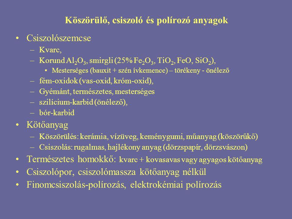 Köszörülő, csiszoló és polírozó anyagok Csiszolószemcse –Kvarc, –Korund Al 2 O 3, smirgli (25% Fe 2 O 3, TiO 2, FeO, SiO 2 ), Mesterséges (bauxit + sz