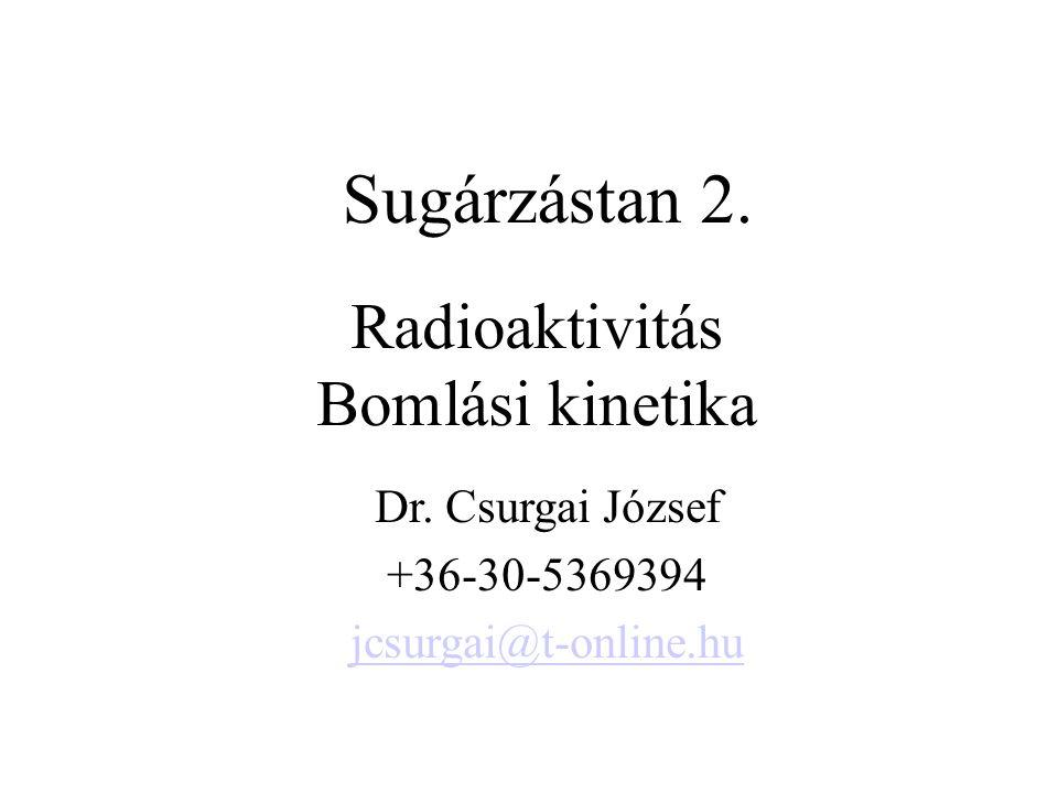 Radioaktivitás Bomlási kinetika Sugárzástan 2.Dr.