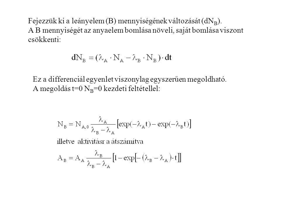 Fejezzük ki a leányelem (B) mennyiségének változását (dN B ).
