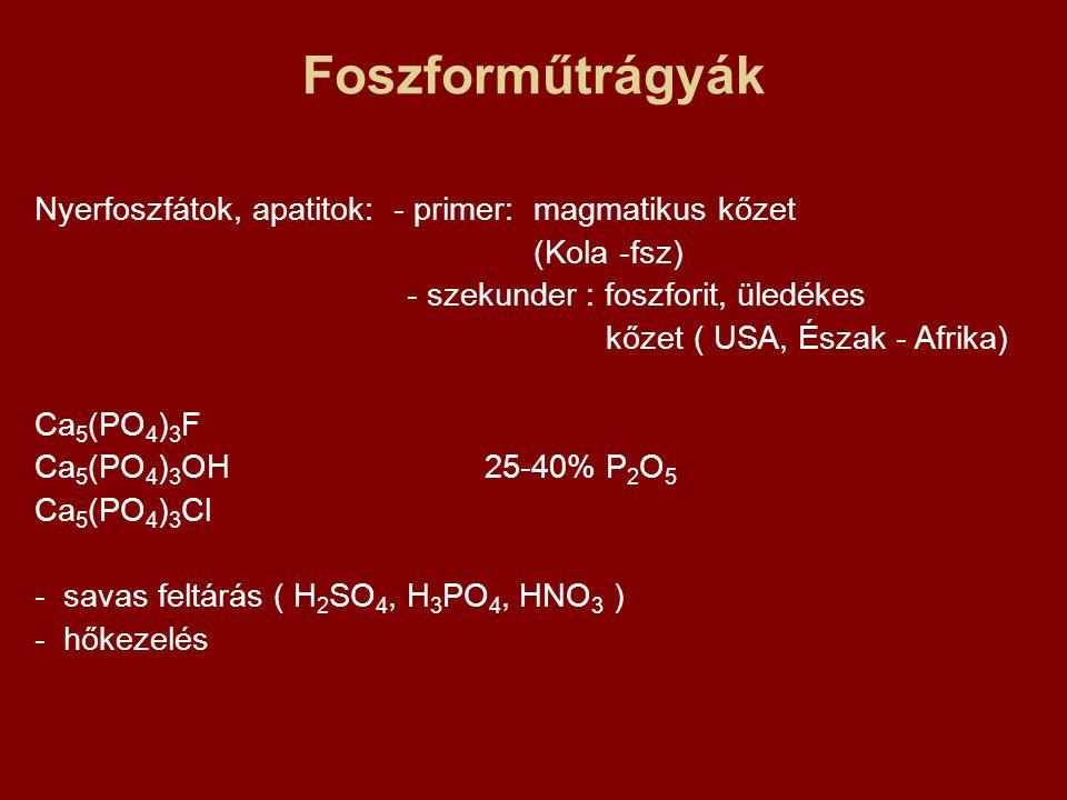 Foszforműtrágyák Nyerfoszfátok, apatitok: - primer: magmatikus kőzet (Kola -fsz) - szekunder : foszforit, üledékes kőzet ( USA, Észak - Afrika) Ca 5 (