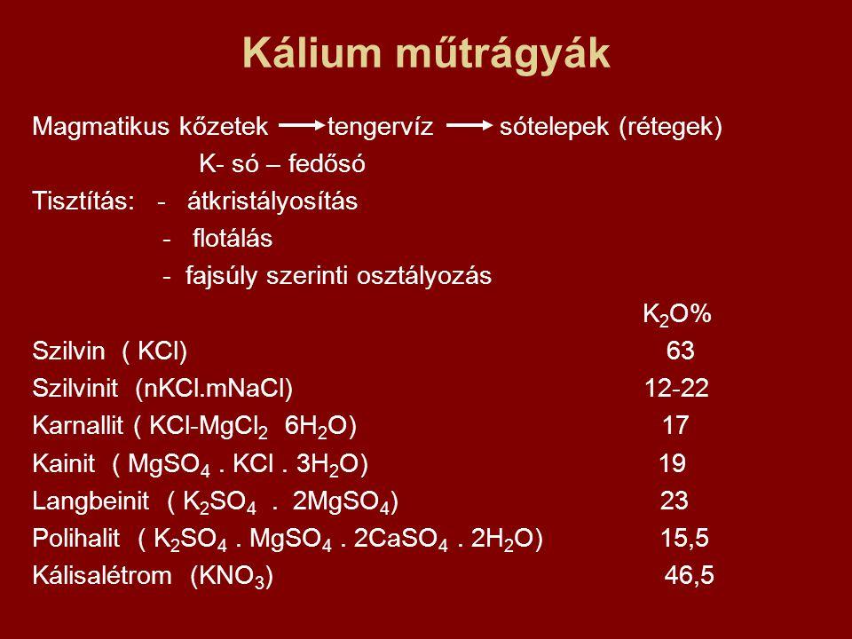 Kálium műtrágyák Magmatikus kőzetek tengervíz sótelepek (rétegek) K- só – fedősó Tisztítás: - átkristályosítás - flotálás - fajsúly szerinti osztályoz