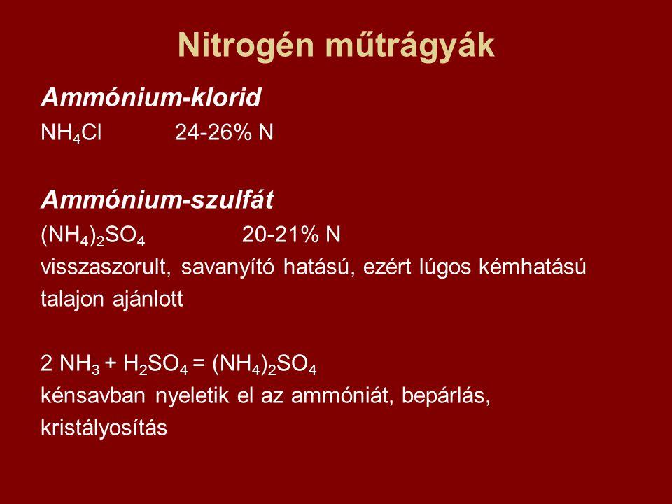 Összetett műtrágyák Magnézium-ammóniumfoszfát vízben kis mértékben oldódik  lassan ható H 3 PO 4 +MgSO 4 +3 NH 4 OH = MgNH 4 PO 4 + (NH 4 ) 2 SO 4 + 3 H 2 O H 3 PO 4 + NH 4 OH + MgCO 3 = MgNH 4 PO 4 + 2 H 2 O + CO 2 Kálium-metafoszfát KPO 3 60% P 2 O 5 40% K 2 O kis oldhatóság, lassan ható 2KCl +P 2 O 5 + H 2 O = 2 KPO 3 + 2 HCl Iparilag kevert műtrágyák: bármilyen arány; kémiai-fizikai feltételek