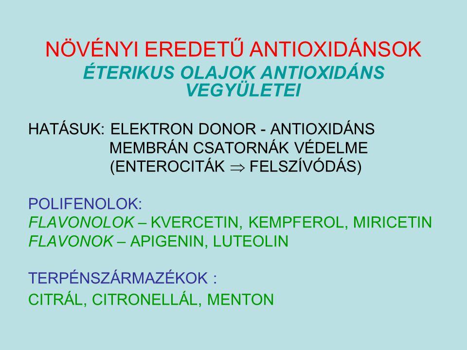 NÖVÉNYI EREDETŰ ANTIOXIDÁNSOK ÉTERIKUS OLAJOK ANTIOXIDÁNS VEGYÜLETEI HATÁSUK: ELEKTRON DONOR - ANTIOXIDÁNS MEMBRÁN CSATORNÁK VÉDELME (ENTEROCITÁK  FE