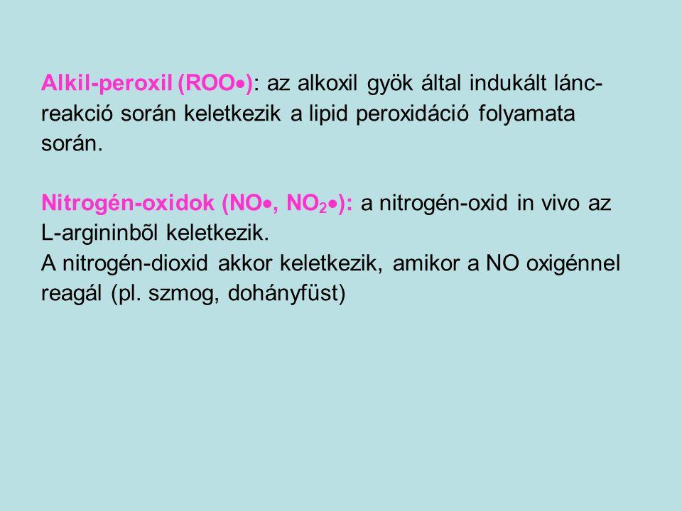 Az egyes szövetek lipidperoxidáció iránti érzékenysége AGY AGY - különösen érzékeny az oxidációs károsodásokra nagy lipid tartalom  kiemelkedően nagy PUFA tartalom  gyenge antioxidáns védelem SZEM (retina) retina pigment epithel sejtjei - oxidatív hatások  apoptózisEMÉSZTŐTRAKTUS ANTIOXIDÁNS VÉDELEM (glutation-peroxidáz aktivitás) gyomor>nyelőcső>vastagbél> vékonybél (kripta >> bélbolyhok csúcsa)VÉREREK antioxidáns enzimek hiánya + arachidonsav kaszkád