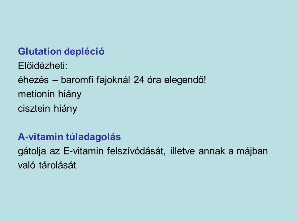 Glutation depléció Előidézheti: éhezés – baromfi fajoknál 24 óra elegendő! metionin hiány cisztein hiány A-vitamin túladagolás gátolja az E-vitamin fe