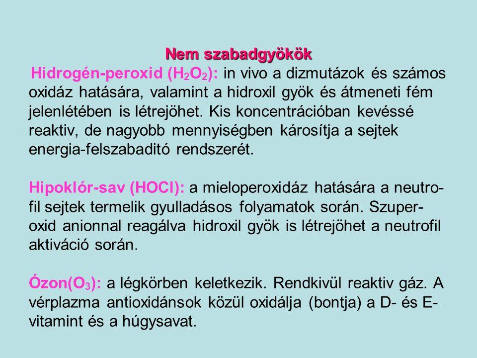 Glutation-peroxidázok (aktív centruma SECIS element – szelenocisztein (TGA – UGA kodon) - Se tartalmú 2GSH + H 2 O 2  GSSG + 2H 2 O Klasszikus glutation-peroxidáz (Mills, 1957) –H 2 O 2 (VVS) Citoszol glutation-peroxidáz (Rotruck et al, 1973) - H 2 O 2 + lipidperoxidok + koleszterol-7  -;7  -hidroperoxidok máj-, harántcsíkolt izmok, érfal endothel sejtek, idegsejtek Foszfolipid-hidroperoxid glutation-peroxidáz (Ursini,1985) – foszfolipid-hidroperoxidok - monomer membrán kötött enzim (madarak májában citoszol forma is) Minden sejt, spermium nukleusz GSH-Px (S-H  S-S)