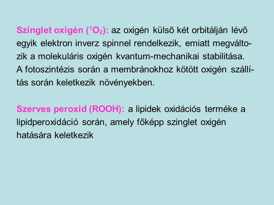 MÁSODIK VÉDELMI VONAL a láncreakció kiterjedésének megelőzése és megállitása ZSIROLDÉKONY ANTIOXIDÁNSOK A- ÉS E-VITAMIN, KAROTINOIDOK, UBIQUINOLOK VIZOLDÉKONY ANTIOXIDÁNSOK C-VITAMIN, GLUTATION, HÚGYSAV