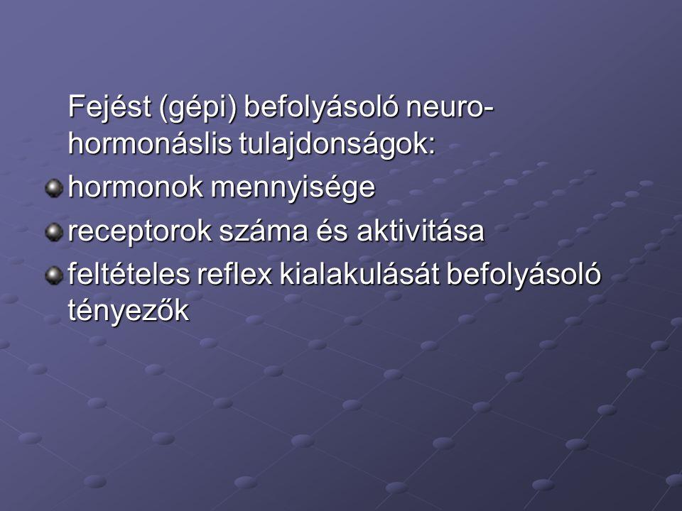 Fejést (gépi) befolyásoló neuro- hormonáslis tulajdonságok: hormonok mennyisége receptorok száma és aktivitása feltételes reflex kialakulását befolyás