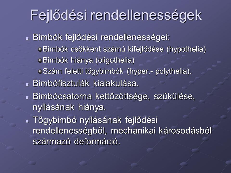 Fejlődési rendellenességek Bimbók fejlődési rendellenességei: Bimbók fejlődési rendellenességei: Bimbók csökkent számú kifejlődése (hypothelia) Bimbók