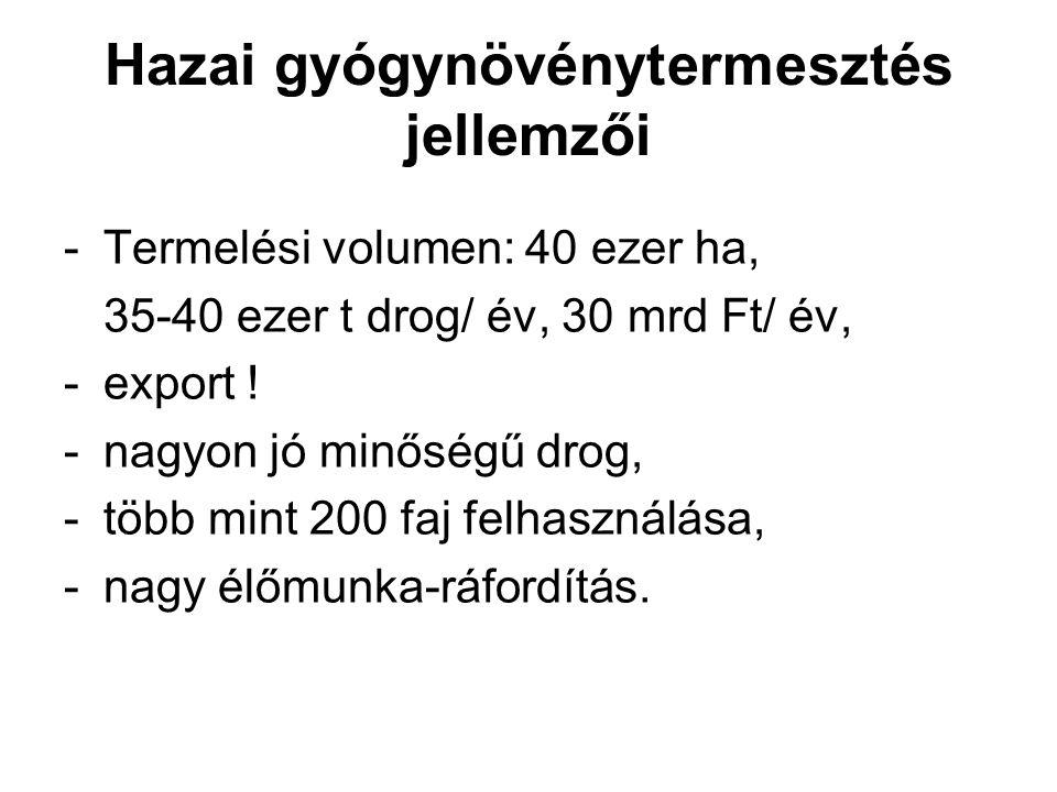 Hazai gyógynövénytermesztés jellemzői -Termelési volumen: 40 ezer ha, 35-40 ezer t drog/ év, 30 mrd Ft/ év, -export ! -nagyon jó minőségű drog, -több