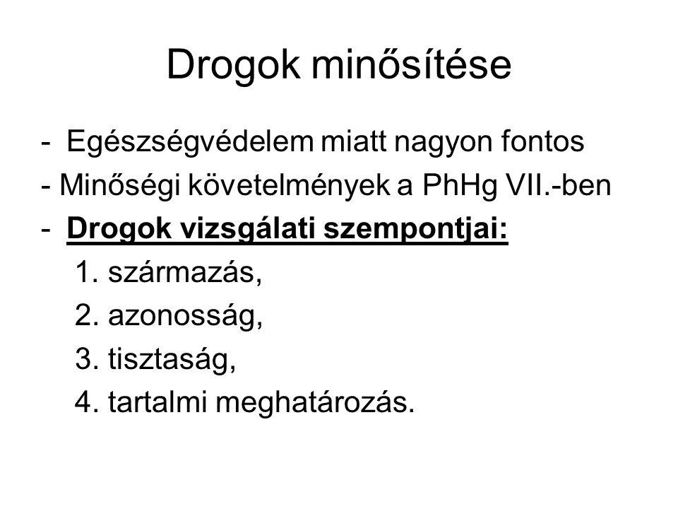 Drogok minősítése -Egészségvédelem miatt nagyon fontos - Minőségi követelmények a PhHg VII.-ben -Drogok vizsgálati szempontjai: 1. származás, 2. azono