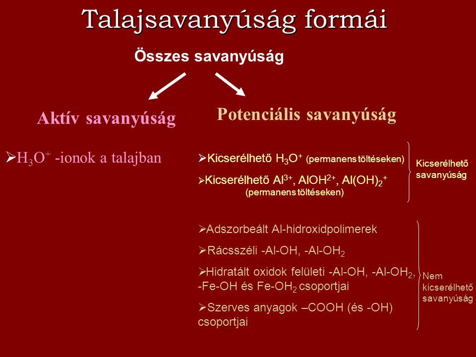 Talajsavanyúság formái Összes savanyúság Potenciális savanyúság Aktív savanyúság  H 3 O + -ionok a talajban  Kicserélhető H 3 O + (permanens töltése