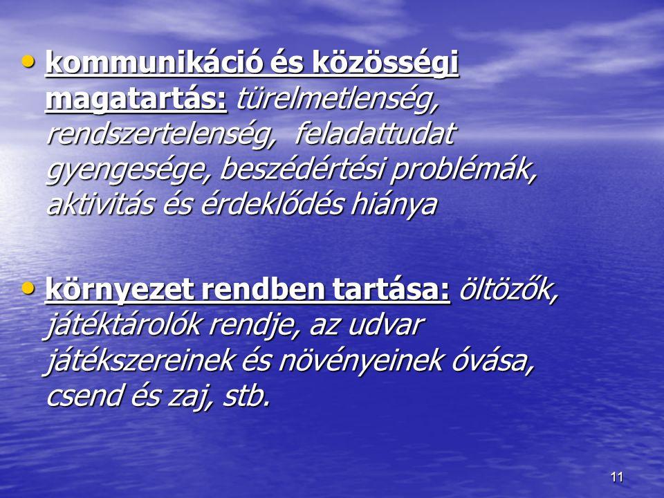 11 kommunikáció és közösségi magatartás: türelmetlenség, rendszertelenség, feladattudat gyengesége, beszédértési problémák, aktivitás és érdeklődés hi