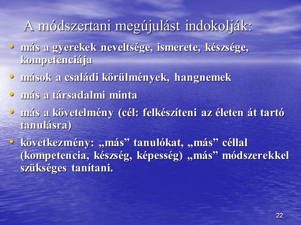22 A módszertani megújulást indokolják: más a gyerekek neveltsége, ismerete, készsége, kompetenciája más a gyerekek neveltsége, ismerete, készsége, ko