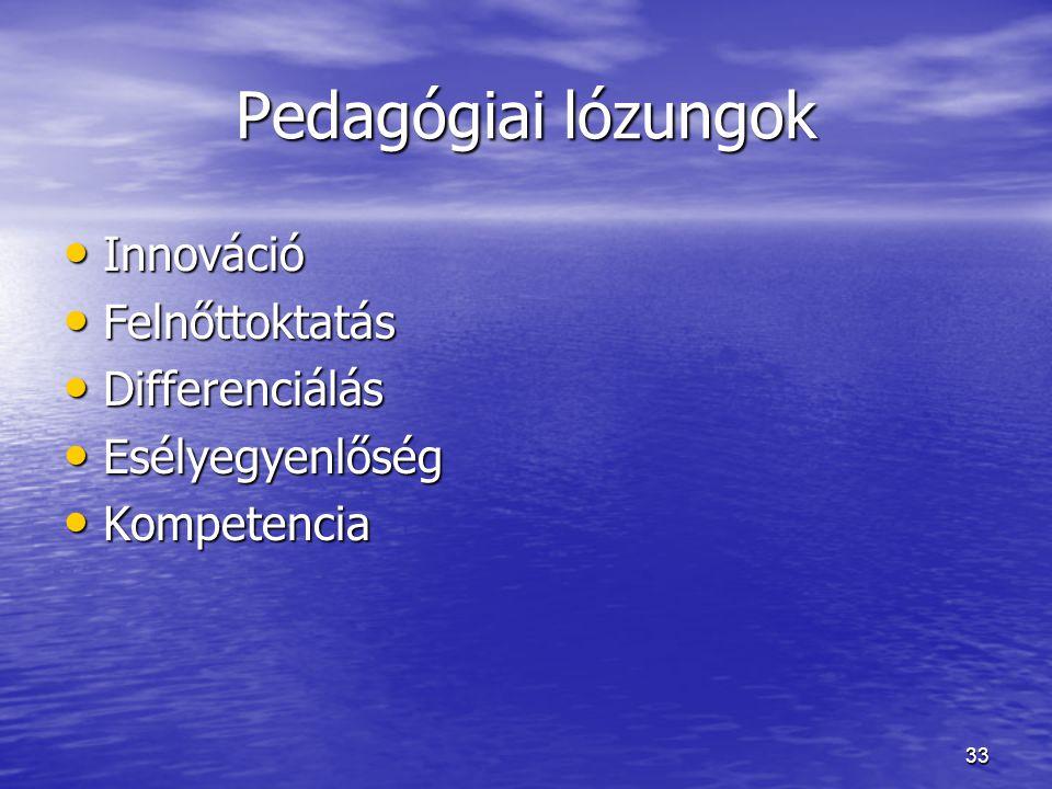 33 Pedagógiai lózungok Innováció Innováció Felnőttoktatás Felnőttoktatás Differenciálás Differenciálás Esélyegyenlőség Esélyegyenlőség Kompetencia Kom
