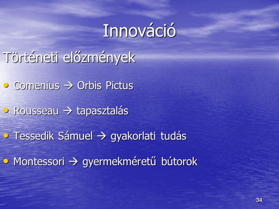 34 Innováció Történeti előzmények Comenius  Orbis Pictus Comenius  Orbis Pictus Rousseau  tapasztalás Rousseau  tapasztalás Tessedik Sámuel  gyak