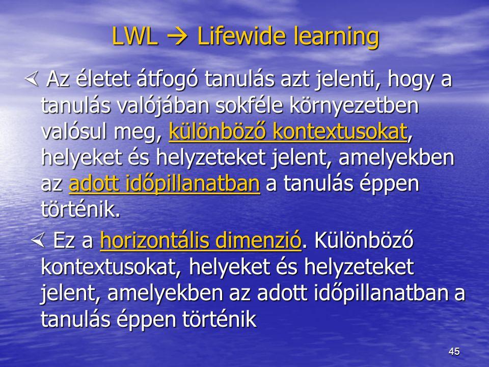 45 LWL  Lifewide learning  Az életet átfogó tanulás azt jelenti, hogy a tanulás valójában sokféle környezetben valósul meg, különböző kontextusokat,