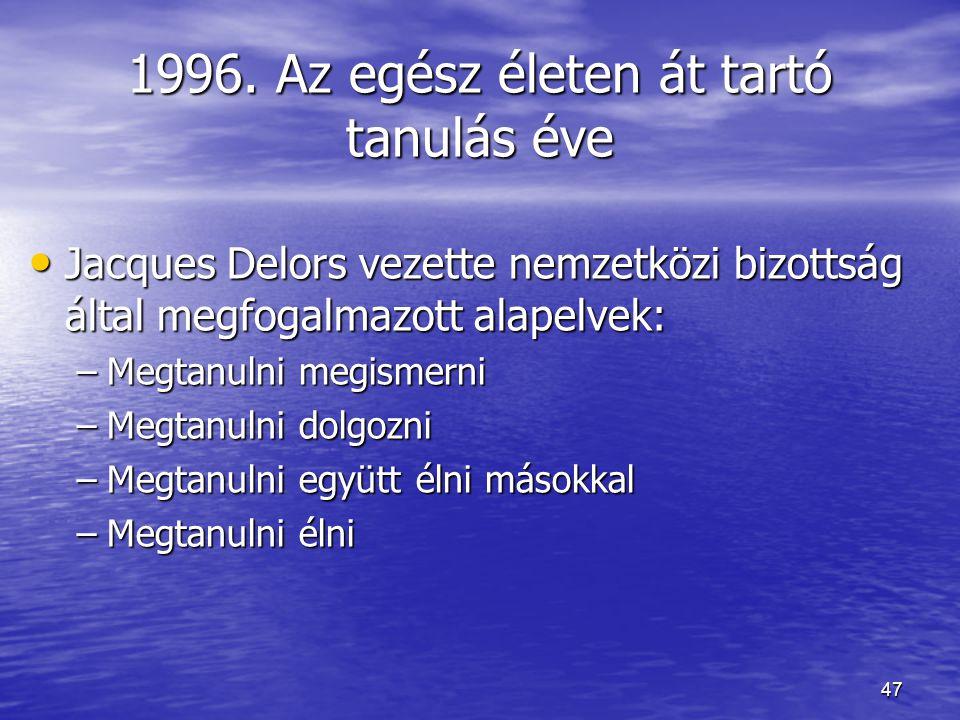 47 1996. Az egész életen át tartó tanulás éve Jacques Delors vezette nemzetközi bizottság által megfogalmazott alapelvek: Jacques Delors vezette nemze