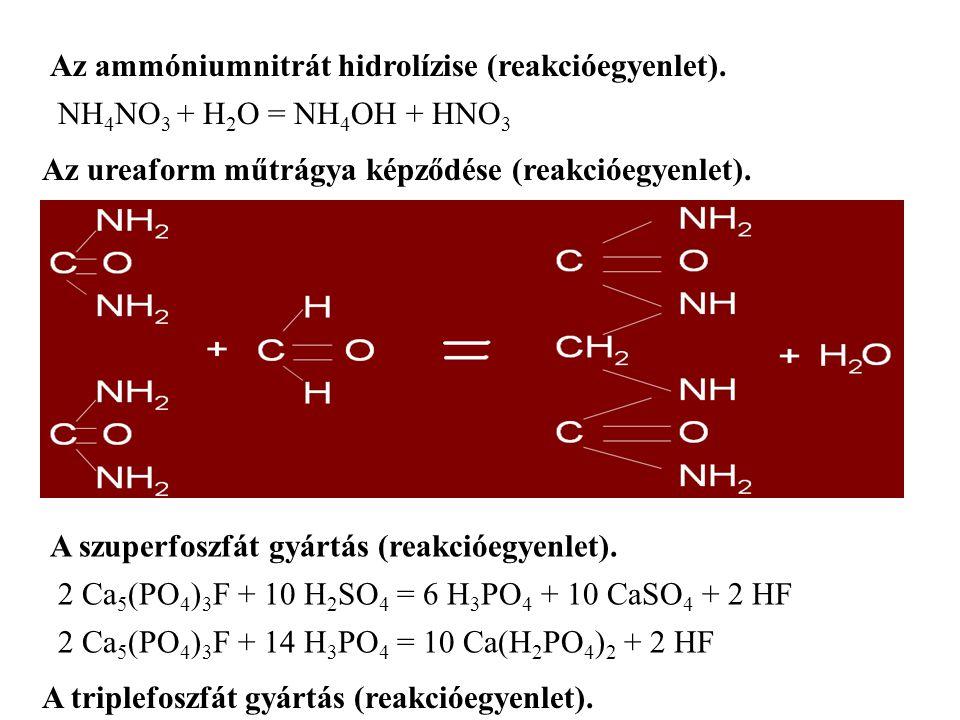 Az ureaform műtrágya képződése (reakcióegyenlet).