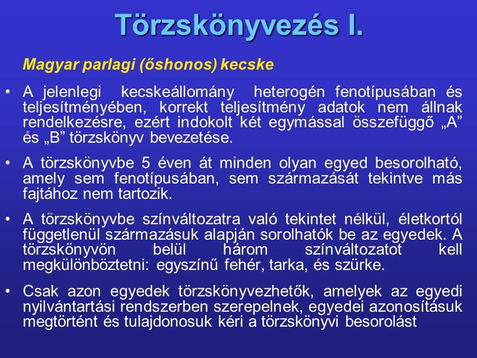 Törzskönyvezés I. Magyar parlagi (őshonos) kecske A jelenlegi kecskeállomány heterogén fenotípusában és teljesítményében, korrekt teljesítmény adatok