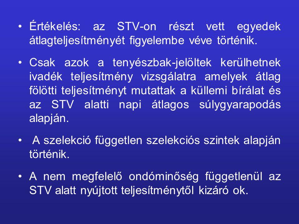 Értékelés: az STV-on részt vett egyedek átlagteljesítményét figyelembe véve történik. Csak azok a tenyészbak-jelöltek kerülhetnek ivadék teljesítmény