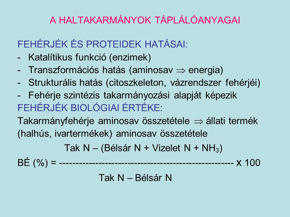 A HALTAKARMÁNYOK TÁPLÁLÓANYAGAI FEHÉRJÉK ÉS PROTEIDEK HATÁSAI: -Katalítikus funkció (enzimek) -Transzformációs hatás (aminosav  energia) -Strukturáli
