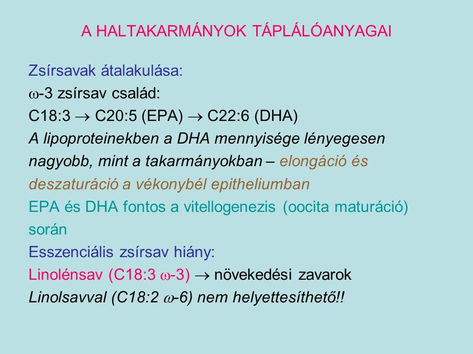 A HALTAKARMÁNYOK TÁPLÁLÓANYAGAI Zsírsavak átalakulása:  -3 zsírsav család: C18:3  C20:5 (EPA)  C22:6 (DHA) A lipoproteinekben a DHA mennyisége lény