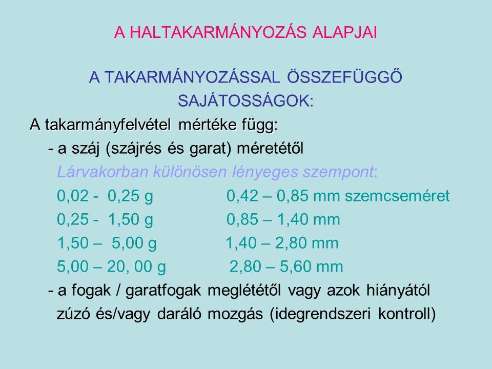A HALTAKARMÁNYOZÁS ALAPJAI - az állatok étvágyától - az ízlelőbimbók helyeződésétől (garatüreg, szájüreg, ajkak, bajuszképletek, bőr) - a víz / takarmány kémiai összetételétől (kémiai ingerek iránti receptivitás jelenléte vagy hiánya) keserű (kinin) és édes (cukor) ízre kevésbé reagálnak savakra érzékenyen reagálnak  sókra gyengén aminosavak iránt eltérő receptivitás: D  L forma 0  100 % Asp>Glu>Ala>Arg>betain >Pro>Gly>Leu>Thre