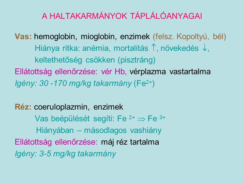 A HALTAKARMÁNYOK TÁPLÁLÓANYAGAI Vas: hemoglobin, mioglobin, enzimek (felsz. Kopoltyú, bél) Hiánya ritka: anémia, mortalitás , növekedés , keltethető