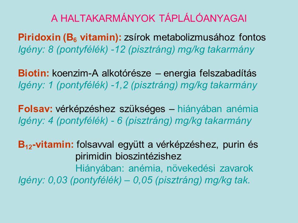 A HALTAKARMÁNYOK TÁPLÁLÓANYAGAI Piridoxin (B 6 vitamin): zsírok metabolizmusához fontos Igény: 8 (pontyfélék) -12 (pisztráng) mg/kg takarmány Biotin:
