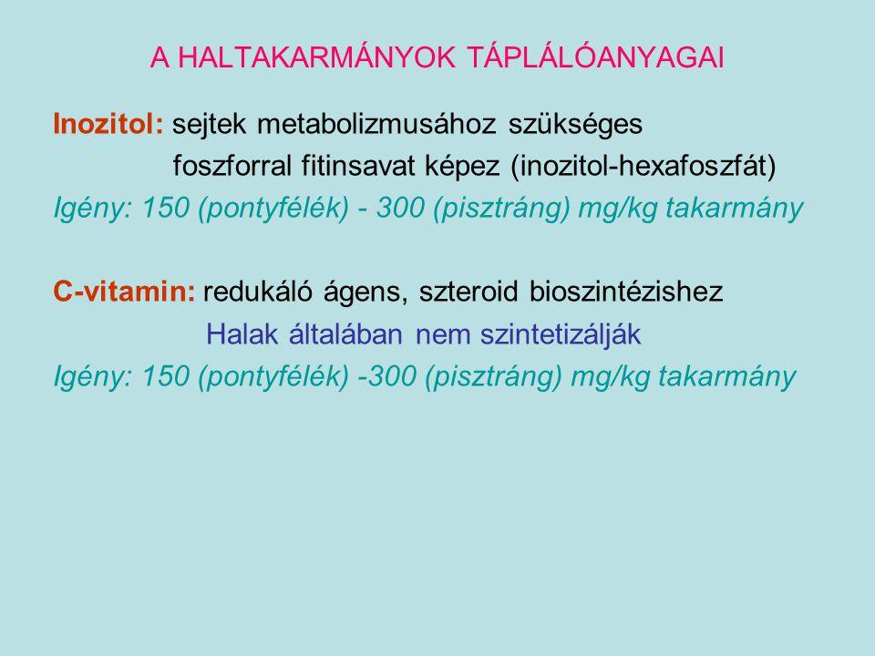 A HALTAKARMÁNYOK TÁPLÁLÓANYAGAI Inozitol: sejtek metabolizmusához szükséges foszforral fitinsavat képez (inozitol-hexafoszfát) Igény: 150 (pontyfélék)