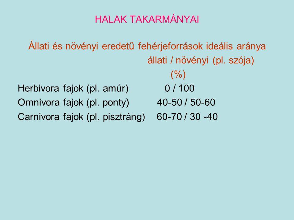 HALAK TAKARMÁNYAI Állati és növényi eredetű fehérjeforrások ideális aránya állati / növényi (pl. szója) (%) Herbivora fajok (pl. amúr) 0 / 100 Omnivor