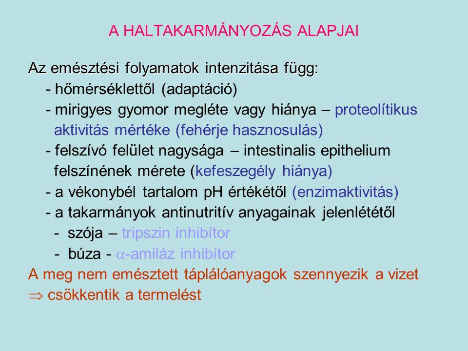 A HALTAKARMÁNYOK TÁPLÁLÓANYAGAI AMINOSAVAK Aminosav Esszenciális Hiánytünetei Valin+ ataxia Leucin+ növekedési intenzitás  Izo-Leucin+ fehérje hasznosulás  Arginin + puffer aminosav Lizin + növekedési intenzitás  Metionin + máj steatosis, anémia Cisztein + bőrproblémák Met  Cys Cys hiány  Met hiány Treonin + Lys + Met limitáló tényezője Fenilalanin + pigmenthiány, anémia Triptofán + fertilitási és embrionális fejlődési zavarok