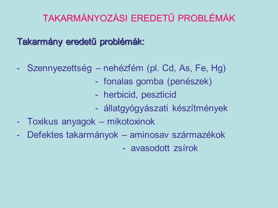 TAKARMÁNYOZÁSI EREDETŰ PROBLÉMÁK Takarmány eredetű problémák: -Szennyezettség – nehézfém (pl. Cd, As, Fe, Hg) - fonalas gomba (penészek) - herbicid, p