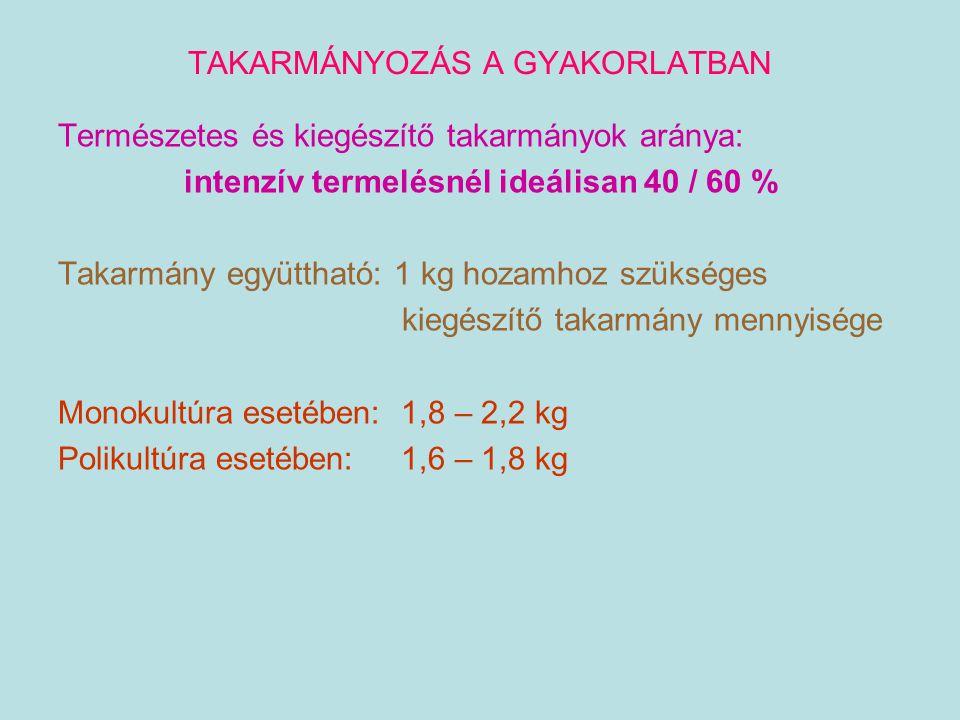 TAKARMÁNYOZÁS A GYAKORLATBAN Természetes és kiegészítő takarmányok aránya: intenzív termelésnél ideálisan 40 / 60 % Takarmány együttható: 1 kg hozamho