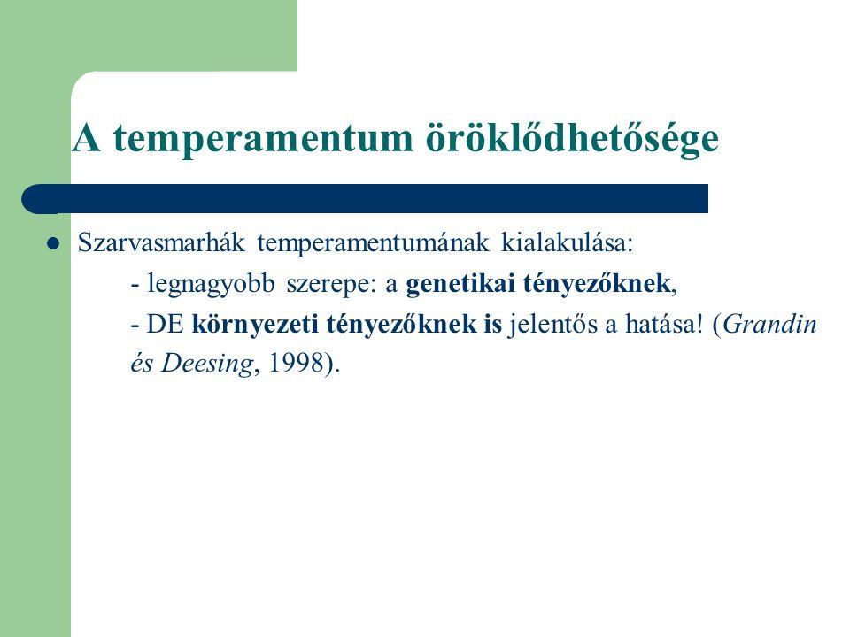 A temperamentum öröklődhetősége Szarvasmarhák temperamentumának kialakulása: - legnagyobb szerepe: a genetikai tényezőknek, - DE környezeti tényezőkne