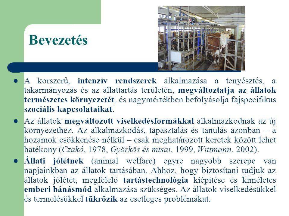 A temperamentum és a tejtermelő képesség kapcsolata Szentléleki és mtsai (2006a): 21 elsőborjas és 23 többször ellett tehén - Budapest, Péteri-major - 3 hónapon keresztül, 1 héttel a próbafejés előtt, reggeli fejéskor, a tőgy fejésre történő előkészítése során - 1-5 pontozási rendszer (Budzynska és mtsai, 2005) - tejmennyiség, fejési sebesség, fejés ideje egyedenként Eredmények: - a fejés előtt sem az elsőborjas, sem a többször ellett tehenek vérmérséklete nem változott a vizsgált három hónapon keresztül (EB: H= 2,437, P>0,10, TE: H= 2,050, P>0,10 ).