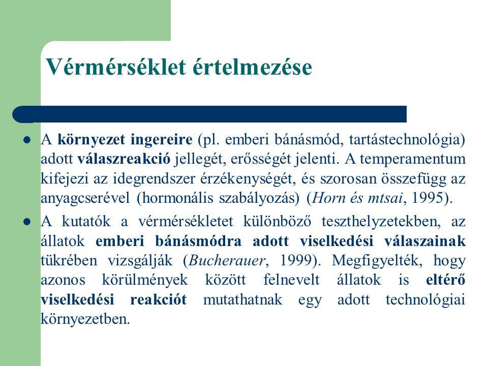A vérmérsékletet befolyásoló tényezők − IVAR Az üszők mindig nyugtalanabbak, mint hímivarú és ivartalanított társaik (Voisinet és mtsai, 1997a, Stricklin és mtsai, 1980).