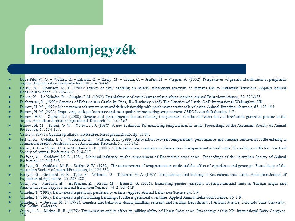 Irodalomjegyzék Boberfeld, W. O. – Wohler, K. – Erhardt, G. – Gauly, M. – Urban, C. – Seufert, H. – Wagner, A. (2002): Perspektives of grassland utili