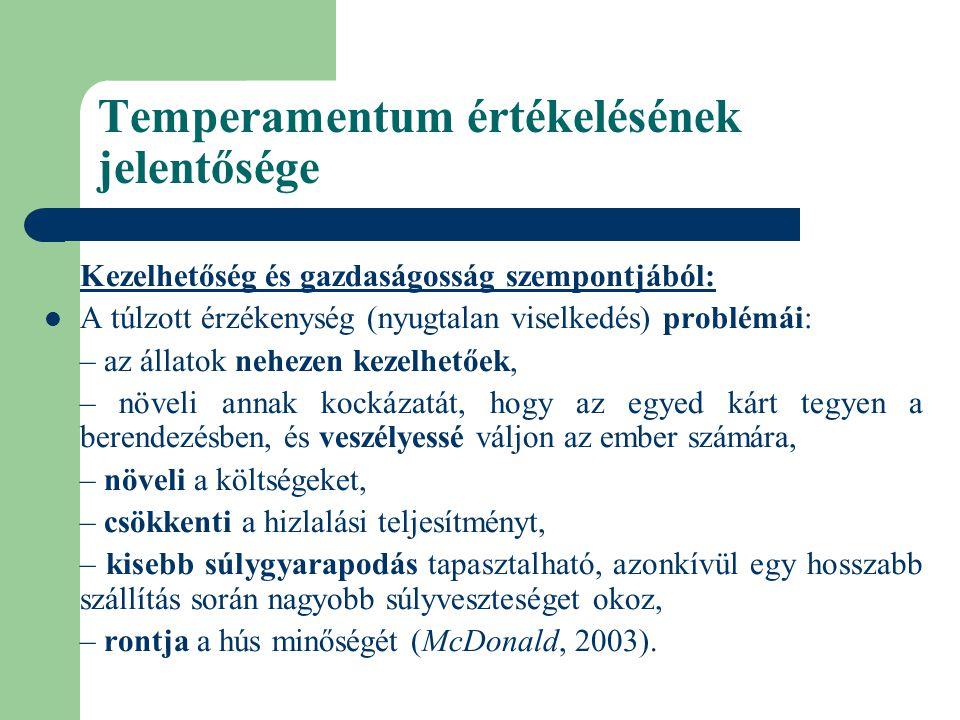 Temperamentum értékelésének jelentősége Kezelhetőség és gazdaságosság szempontjából: A túlzott érzékenység (nyugtalan viselkedés) problémái: – az álla