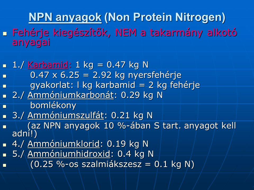 NPN anyagok (Non Protein Nitrogen) Fehérje kiegészítők, NEM a takarmány alkotó anyagai Fehérje kiegészítők, NEM a takarmány alkotó anyagai 1./ Karbami