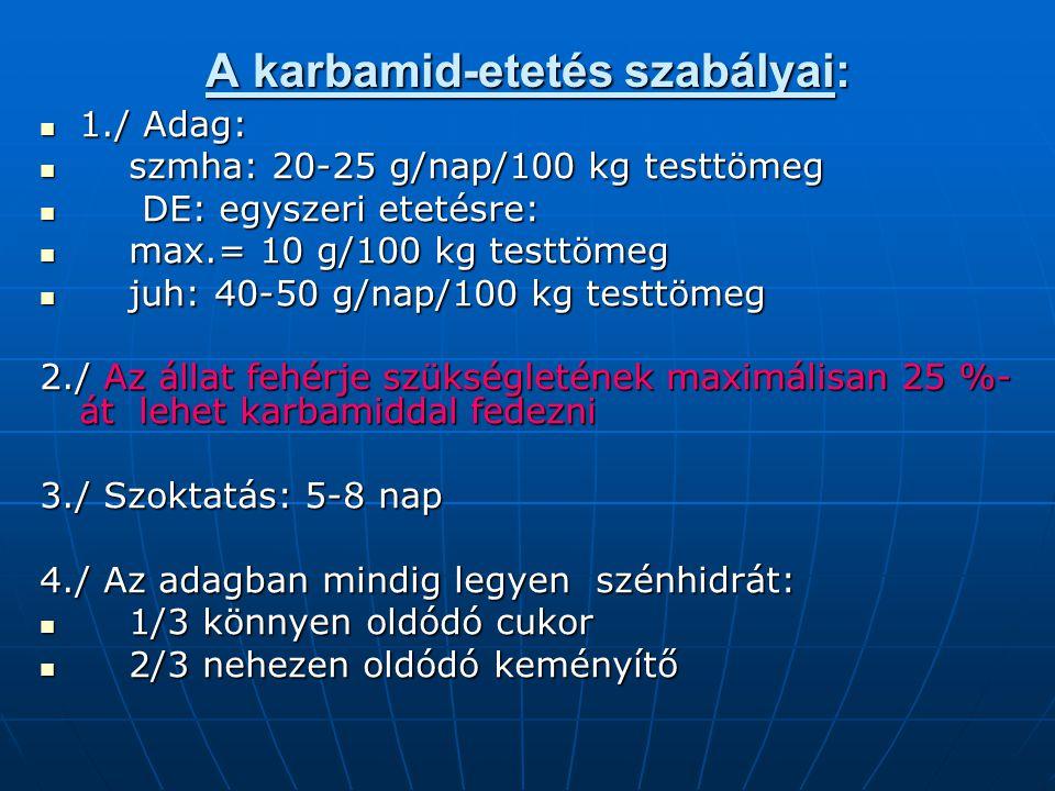 A karbamid-etetés szabályai: 1./ Adag: 1./ Adag: szmha: 20-25 g/nap/100 kg testtömeg szmha: 20-25 g/nap/100 kg testtömeg DE: egyszeri etetésre: DE: eg