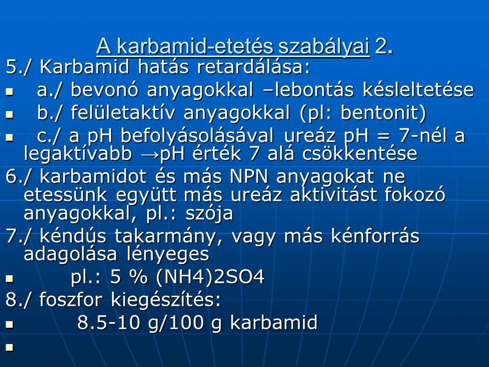 A karbamid-etetés szabályai 2. 5./ Karbamid hatás retardálása: a./ bevonó anyagokkal –lebontás késleltetése a./ bevonó anyagokkal –lebontás késlelteté