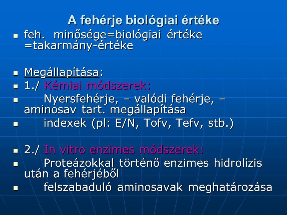 A fehérje biológiai értéke feh. minősége=biológiai értéke =takarmány-értéke feh. minősége=biológiai értéke =takarmány-értéke Megállapítása: Megállapít