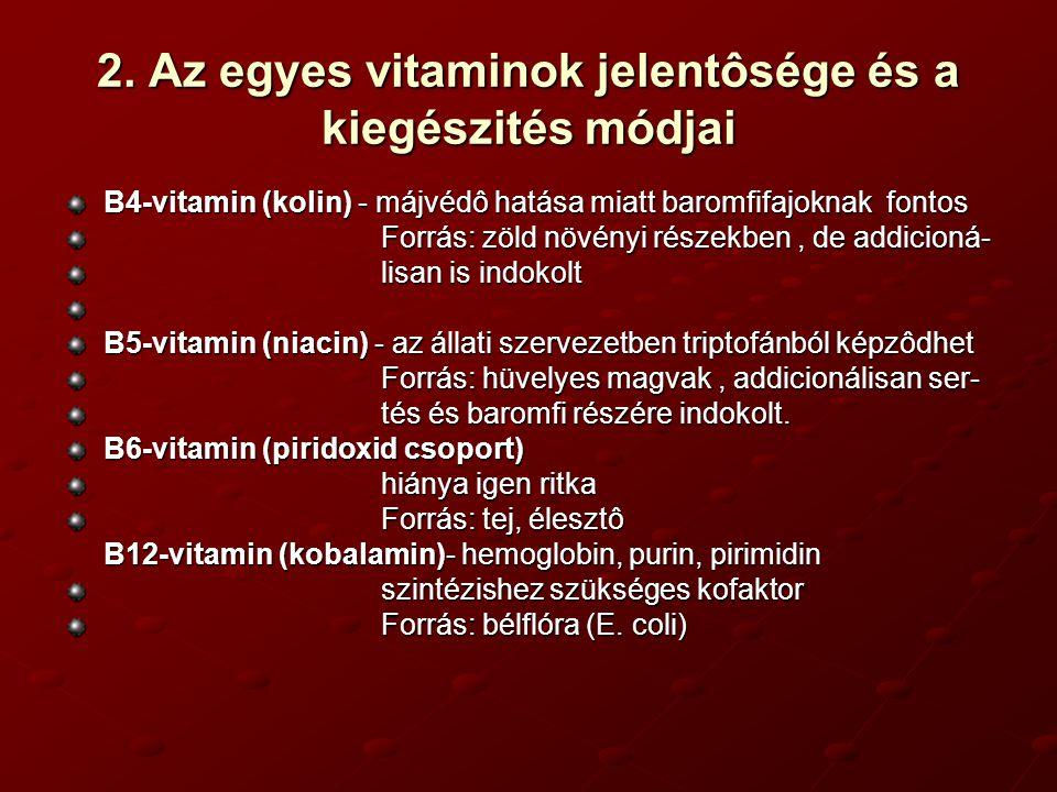 . Az egyes vitaminok jelentôsége és a kiegészités módjai Biotin - hiánya csak baromfinál jelentôs Antivitamin: nyers tojás - biotin -avidin Forrás: bélflóra, hüvelyes magvak (elôkezelés kárositja) C-vitamin (aszkorbinsav) - gazdasági állataink szintetizálni képesek Forrás: zöld növények, káposztafélék,paprika Kiegészités: stresszhatások esetén az igény megnövekedhet