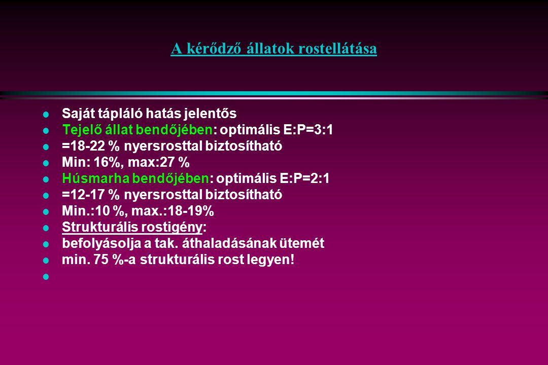 A kérődző állatok rostellátása l Saját tápláló hatás jelentős l Tejelő állat bendőjében: optimális E:P=3:1 l =18-22 % nyersrosttal biztosítható l Min: 16%, max:27 % l Húsmarha bendőjében: optimális E:P=2:1 l =12-17 % nyersrosttal biztosítható l Min.:10 %, max.:18-19% l Strukturális rostigény: l befolyásolja a tak.