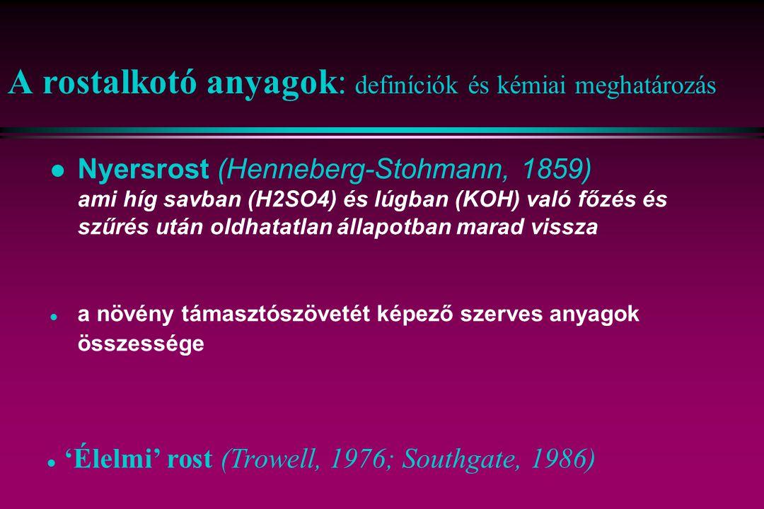 A rostalkotó anyagok: definíciók és kémiai meghatározás l Nyersrost (Henneberg-Stohmann, 1859) ami híg savban (H2SO4) és lúgban (KOH) való főzés és sz